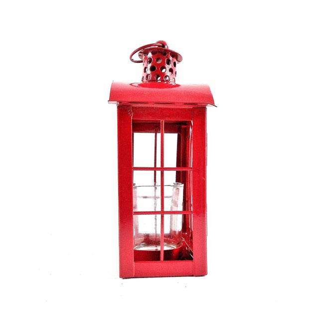 Red Metal Votive Candle Lantern For Sale - Image 4 of 10