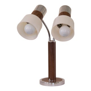 Mid 20th Century Modern Chrome & Faux Wood Trim Desk Lamp For Sale