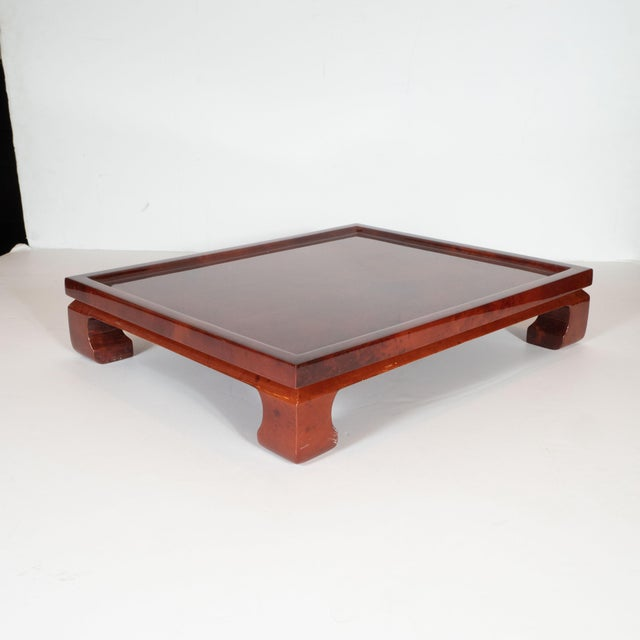 This beautiful Mid-Century Modern bar tray was handmade in Colombia, circa 1980. It features a pagoda form with stylized...