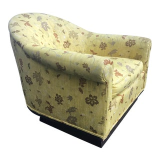 Milo Baughman Mid-Century Modern Scalamandre Upholstered Barrel Chair Castors For Sale