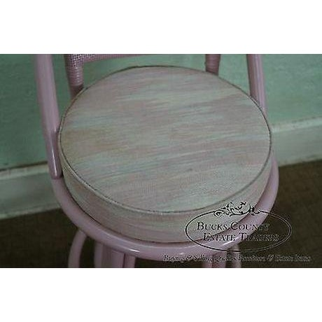 Red Clark Casuals Vintage Set of 4 Painted Rattan Bar Stools For Sale - Image 8 of 13