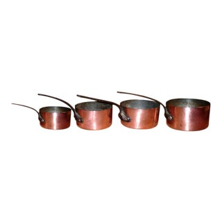 Set of Four Graduated French Iron and Copper Pots For Sale