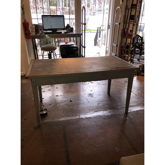 Antique Painted Wood Continental Table With Patina and Two Drawers For Sale - Image 4 of 13