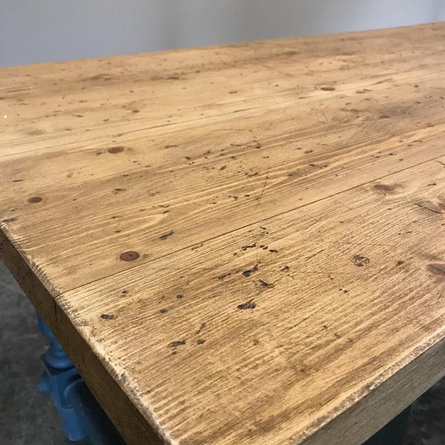 1900s Antique Painted Dining Table With Stripped Top For Sale - Image 5 of 12