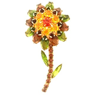 20th Century Gold & Swarovski Crystal Flower Brooch by Delizza & Elster For Sale
