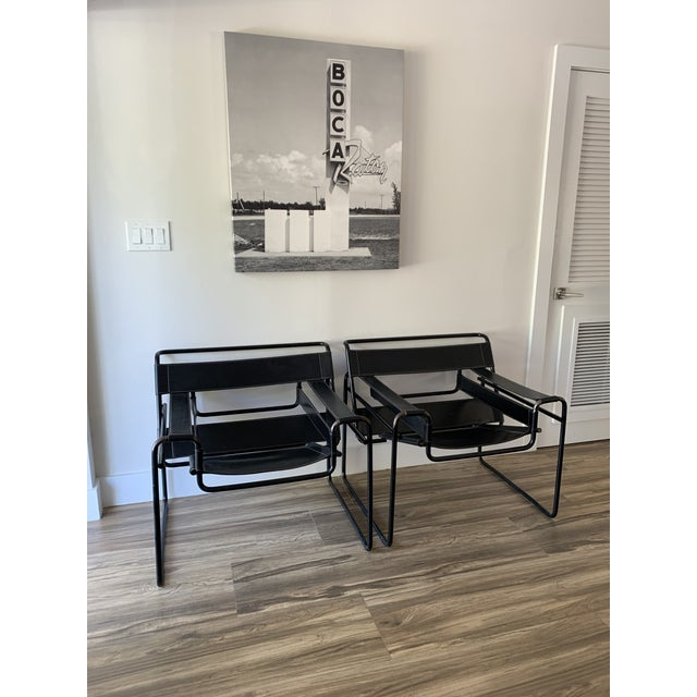 """Pair of Wassily style chairs with black frames, marked """"made in Italy"""" circa 1970-1980s. Marcel Breuer's classic B3..."""
