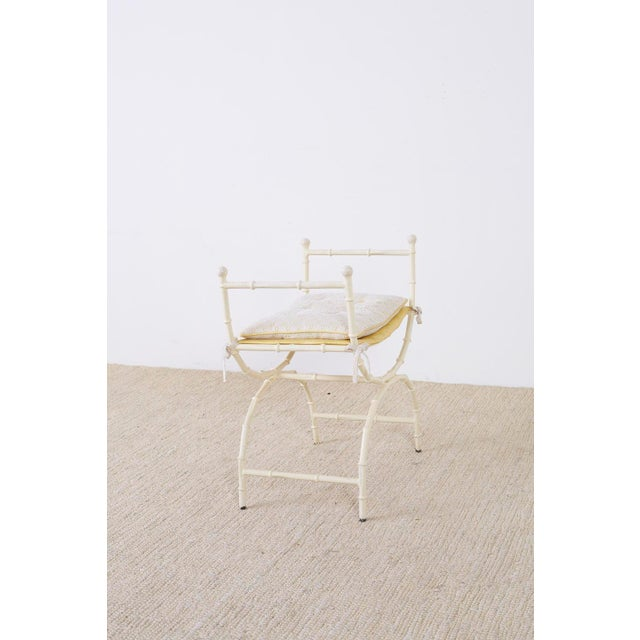 Mid-Century Modern Italian Faux Bamboo Vanity Stool or Bench For Sale - Image 11 of 13