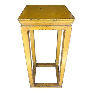 Ming Style Distressed Mustard Pedestal For Sale
