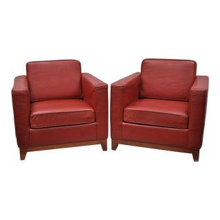 Marquis Custom Red Leather Modern Cube Club Chairs - a Pair