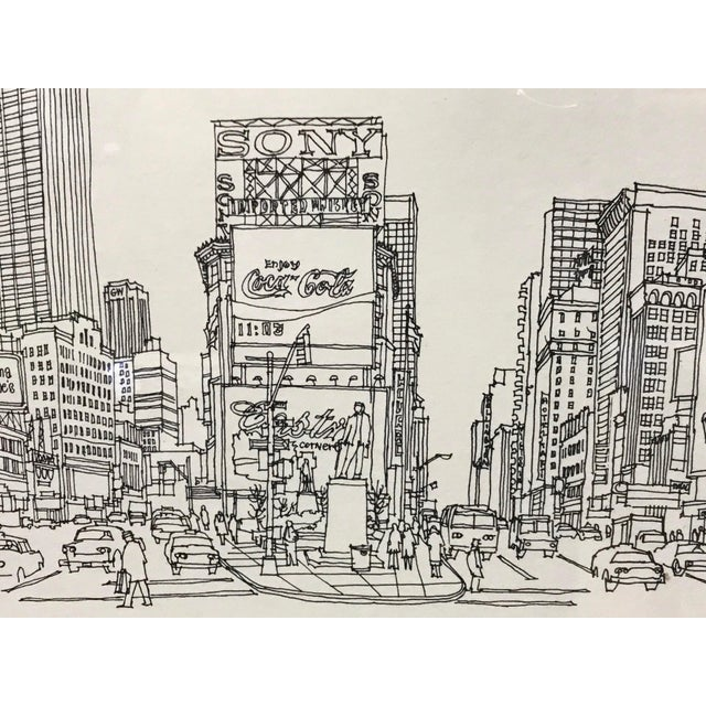 """Contemporary """"Times Square, NYC 1978"""" Signed and Numbered Line Drawing by Richard Welling For Sale - Image 3 of 10"""