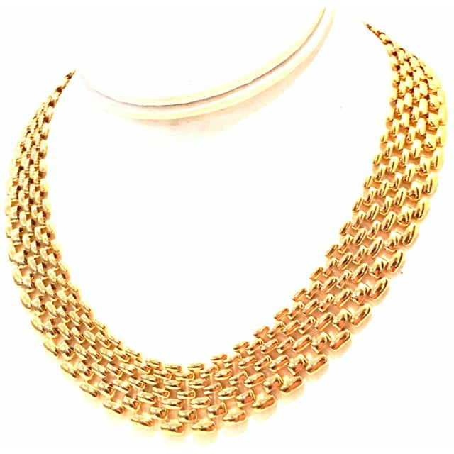 1980'S Gold Plate Link Choker Style Necklace By, Napier. Signed Napier on the fold over box style locking clasp. Due to...