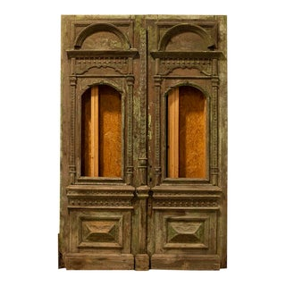 Antique Original 9' Tall Green Painted Carved Salvaged Doors From Hungary For Sale