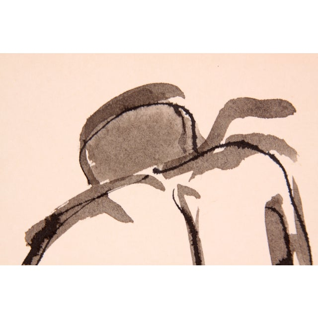 Drury Pifer 'Crouched' Figure Study in Ink - Image 2 of 3