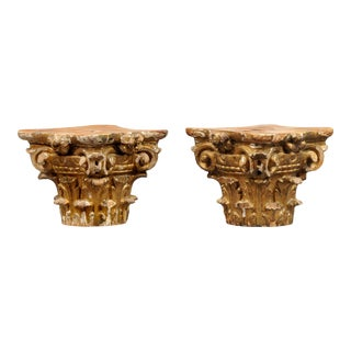 Antique Georgian Pair Gilded Capitals, Circa 1770 For Sale