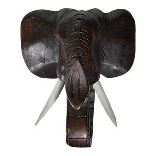 Hand Carved Mahogany Wood Elephant Head