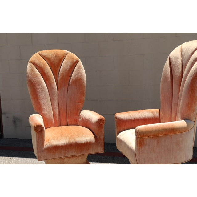 Velvet Highback Swivel Chairs - A Pair - Image 7 of 10