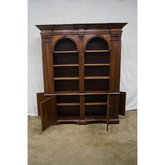 Large Italian Walnut Architectural Bookcase w/ Corinthian Columns For Sale - Image 9 of 10