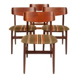 Image of Vintage Walnut & Teak Danish Modern Dining Chairs (Set of Four) For Sale
