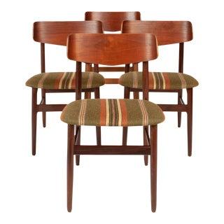 Vintage Walnut & Teak Danish Modern Dinning Chairs (Set of Four) For Sale