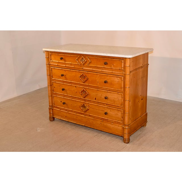 Art Nouveau 19th C French Faux Bamboo Chest of Drawers For Sale - Image 3 of 8
