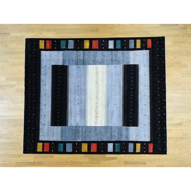 Hand-Knotted Wool Folk Art Gabbeh Rug- 8′3″ × 10′1″ For Sale - Image 13 of 13