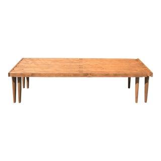 Mid-Century Walnut Slat Bench