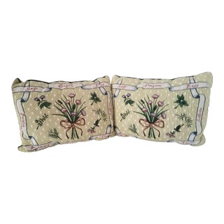 Vintage Tapestry & Canvas Herb & Spice Lumbar Accent Pillows - A Pair For Sale
