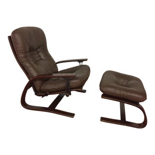 Westnofa Leather Reclining Lounge Chair and Ottoman - Made in Norway For Sale