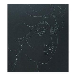 1955 Madge Tennent Hawaiian Woman Portrait Drawing