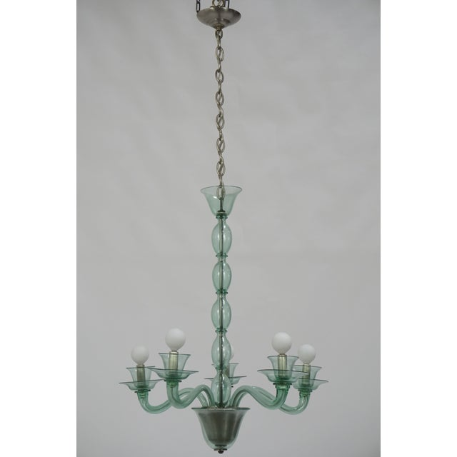 Blown Glass Mid-Century Modern Solid Aqua Murano Glass Chandelier For Sale - Image 7 of 11