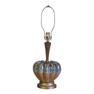 Mid-Century Melon Ceramic & Teak Stem Table Lamp