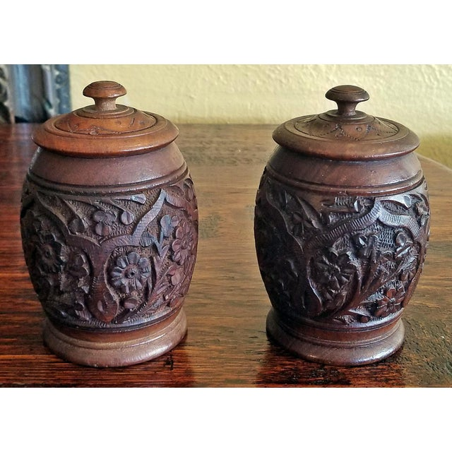 19c Anglo Indian Pair of Carved Wooden Spice Urns For Sale - Image 10 of 10
