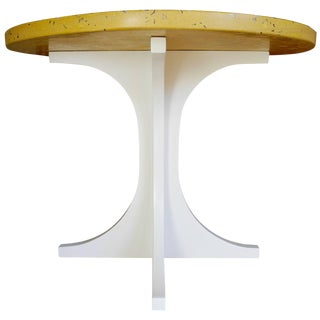 Yellow Concrete and Wood Side Table Designed by Cr Studio For Sale