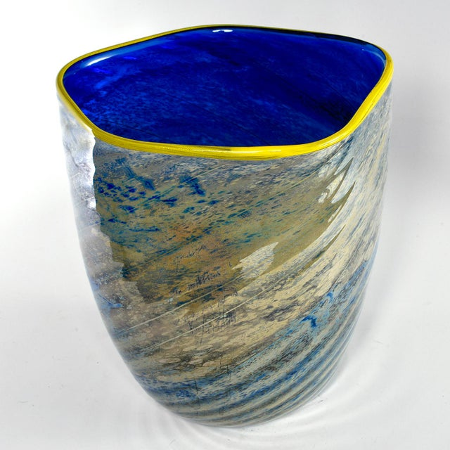 1990s Large Cobalt Blue and Yellow Art Glass Vase For Sale - Image 5 of 9