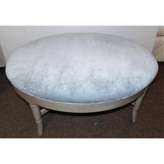 Vintage Mid Century Oval Pale Blue Crushed Velvet Ottoman Preview