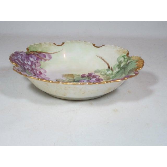 Art Nouveau Antique Rosenthal Bavarian Hand Painted Grape Bowl For Sale - Image 3 of 7