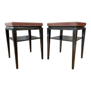 Pair of Tommi Parzinger Leather Top Ebonized Mahogany Occasional Tables, 1950s For Sale
