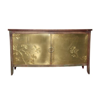 Traditional Hubert Brass and Wooden Storage Cabinet For Sale