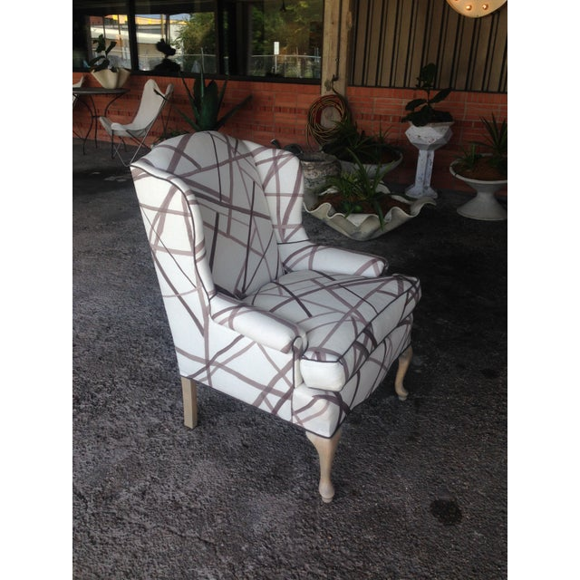 Vintage Wingback Chair in Abstract Lines Upholstery For Sale - Image 4 of 5