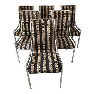 Mid-Century Modern Bassett Chrome Dining Chairs - Set of 6