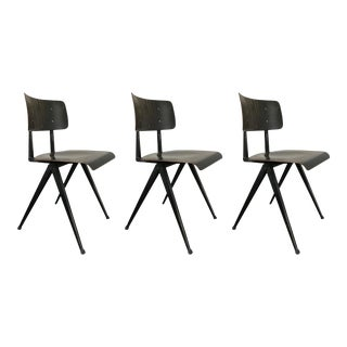 Set of 3 - Contemporary Dark Wood Chair With Steel Base For Sale