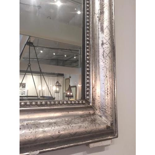 French Silver Leaf Louis Philippe Mirror With Decorative Accents For Sale - Image 3 of 7