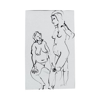 The Conversation Ink Drawing For Sale