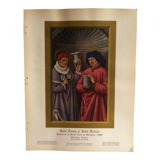 """Vintage French Color Print, """"Saint Cosme Et Saint Damien - 1508"""" - 1936 For Sale"""