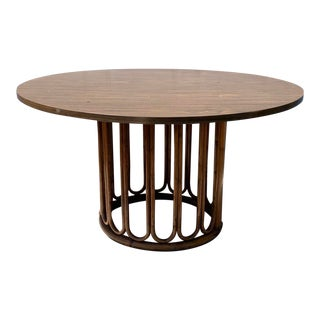 Vintage Cal-Asia Bamboo and Rattan Round Dining Table For Sale