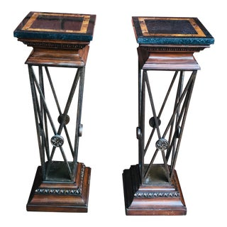 1970's Vintage Maitland-Smith Iron and Marble Column Pedestals-a Pair For Sale