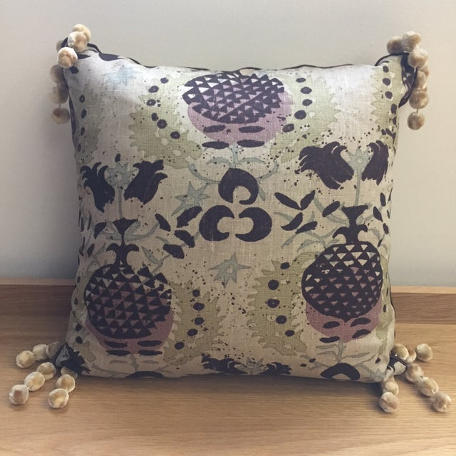 Belgian Linen Hand Printed Pillow For Sale - Image 4 of 4