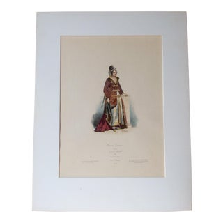 "19th Century C.1880 French Original Engraving Historic Fashion Plate, Hand-Tinted ""Femme Grecque"" For Sale"