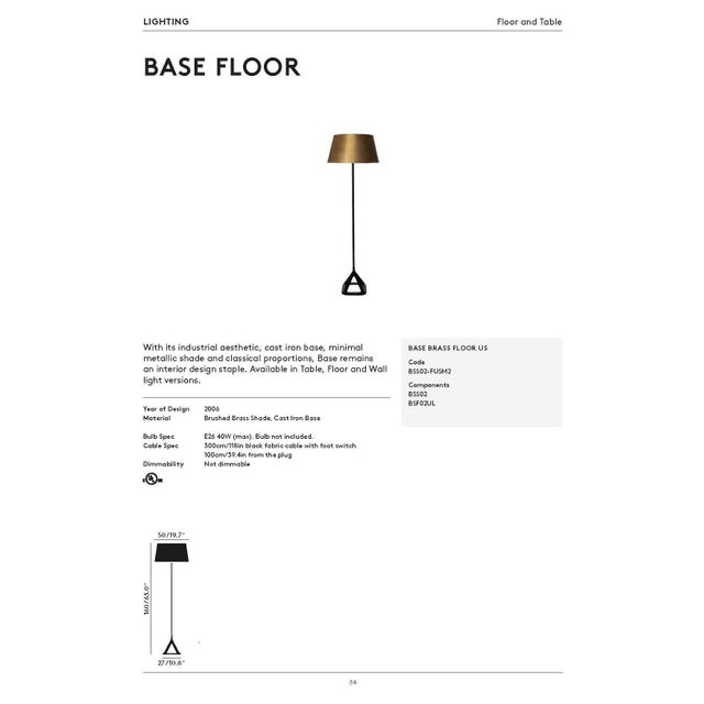 Tom Dixon Base Floor Light-Brushed Brass For Sale In Los Angeles - Image 6 of 7