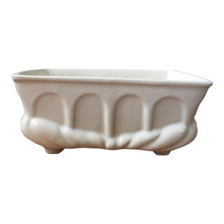 Vintage White Ceramic Planter For Sale